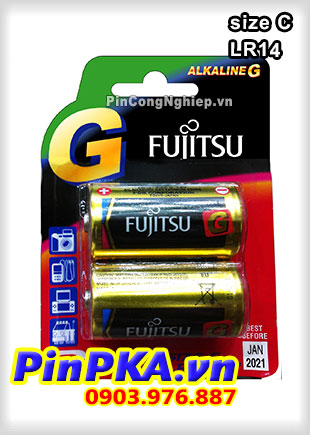 Pin Alkaline C 1,5V Fujitsu GPlus LR14 Made in Japan vỉ 2 viên