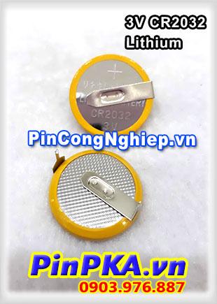 Pin đồng tiền 3v Lithium CR2032 Có chân