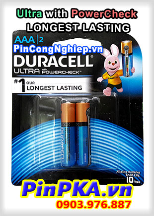 Pin Đũa Alkaline Duracell AAA MX2400-LR03 Ultra with PowerCheck Longest Lasting Đo lượng Pin
