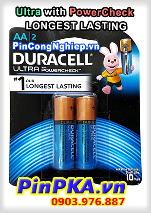 Pin Tiểu Alkaline Duracell AA MX1500-LR6 Ultra with PowerCheck Longest Lasting Đo lượng Pin