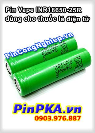 Pin Vape Samsung INR 18650-25R dùng cho thuốc lá điện tử, dòng xả cao
