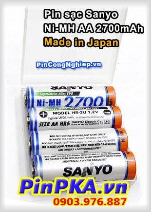 Pin sạc tiểu AA Sanyo 2700mAh (hộp 4 viên)  Made in Japan