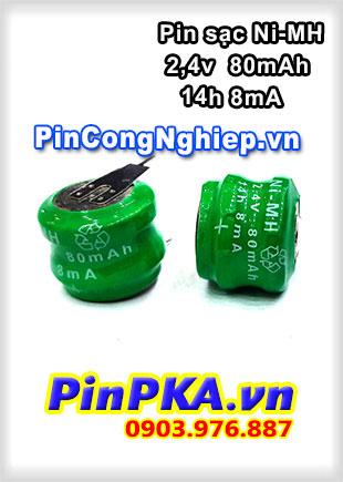 Pin sạc Ni-MH  2,4v  80mAh 14h 8mA