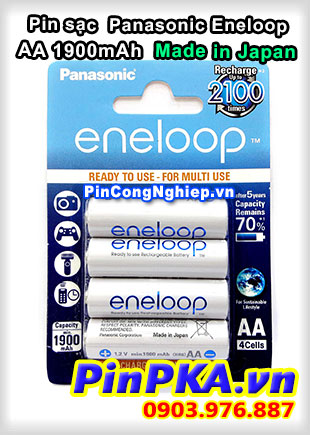 Pin sạc AA Panasonic Eneloop 1900mAh (vỉ 4) Made in Japan BK-3MCCE/4BE